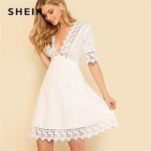 Shein lace trim embroidered dress in white, S